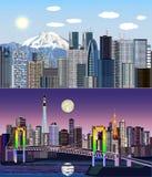 Токио, Япония, Азия - день к набору вектора ночи иллюстрация штока