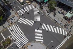 Токио - Япония, 19-ое июня 2017: Вид с воздуха людей пересекающ Стоковое фото RF