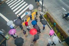 ТОКИО, ЯПОНИЯ 28-ОЕ ИЮНЯ - 2017: Вид с воздуха неопознанных людей под зонтиками на улице скрещивания зебры в Jimbocho Стоковая Фотография