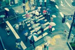 ТОКИО, ЯПОНИЯ 28-ОЕ ИЮНЯ - 2017: Вид с воздуха неопознанных людей под зонтиками на улице скрещивания зебры в Jimbocho Стоковые Изображения RF
