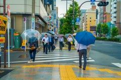 ТОКИО, ЯПОНИЯ 28-ОЕ ИЮНЯ - 2017: Неопознанные люди под зонтиками на улице скрещивания зебры в обнаруженном местонахождение районе Стоковая Фотография