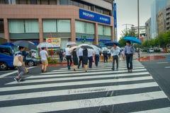 ТОКИО, ЯПОНИЯ 28-ОЕ ИЮНЯ - 2017: Неопознанные люди под зонтиками на улице скрещивания зебры в обнаруженном местонахождение районе Стоковое Фото