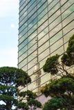 ТОКИО, ЯПОНИЯ - 31-ОЕ ОКТЯБРЯ 2017: Взгляд ` башни ТВ небесное дерево ` токио, отраженное в здании вертикально стоковое изображение rf