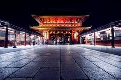 Токио, Япония - 18-ое октября 2016: Висок Sensoji на ноче Стоковая Фотография