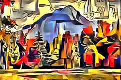 Толкование абстракции ландшафта Стоковое фото RF