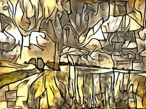 Толкование абстракции ландшафта Стоковое Фото
