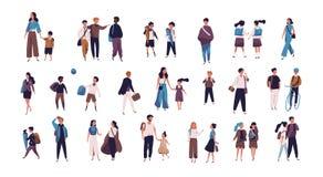 Толпа зрачков, ребеят школьного возраста с родителями и студентов идя к школе, коллежу или университету Крошечные люди на улице иллюстрация вектора
