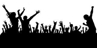 Толпа людей на силуэте концерта Стоковая Фотография