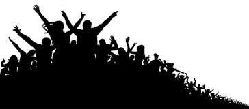 Толпа людей, предпосылки силуэта вектора Концерт, партия, спорт, вентиляторы, жизнерадостные, рукоплескание иллюстрация вектора