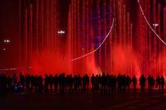 Толпа людей смотря фонтан стоковая фотография rf