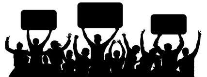 Толпа людей со знаменами Люди группы поддержки жизнерадостные Вентиляторы спорт иллюстрация штока