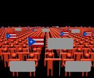 Толпа людей с знаками и Пуэрто-Рико сигнализирует иллюстрацию иллюстрация штока