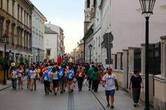 Толпа людей с флагами День молодости мира Краков Польша 2016 Стоковые Изображения RF