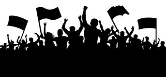 Толпа людей с флагами, знаменами Спорт, толпа, вентиляторы Демонстрация, выраженность, протест, забастовка, революция иллюстрация штока