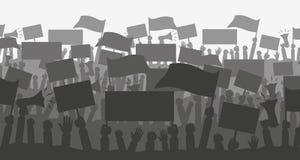 Толпа силуэта протестующих людей Стоковая Фотография