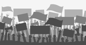 Толпа силуэта протестующих людей Стоковые Изображения RF