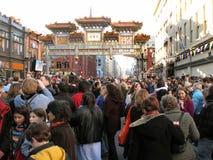 толпа chinatown Стоковое Фото