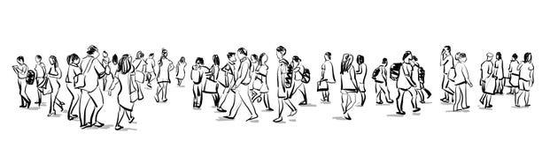 Толпитесь взгляд панорамы эскиза чернил группы людей идя freehand бесплатная иллюстрация