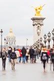 Толпы туристов в Париже Стоковая Фотография