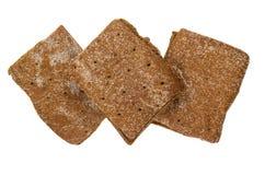 3 толстого куска хлеба изолированного на белой предпосылке Стоковые Фотографии RF
