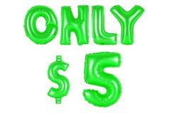 Только 5 долларов, зеленый цвет стоковое изображение
