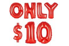 Только 10 долларов, красный цвет Стоковое Изображение RF