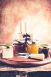 Томаты вина луков сжимают - комплект инструментов и варенья для дегустации сыра стоковые изображения rf