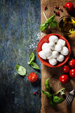 Томаты вишни, листья базилика, сыр моццареллы и оливковое масло f Стоковые Фотографии RF