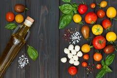 Томаты вишни, моццарелла, листья базилика, специи и оливковое масло сверху Итальянские caprese ингридиенты рецепта салата Стоковые Фото