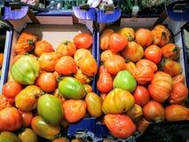 Томаты в рынке Стоковая Фотография