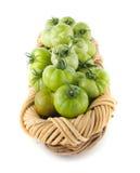 томаты заполненные корзиной зеленые Стоковые Фото