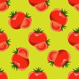 Томаты и куски предпосылки томата безшовной Вектор дизайна плоского и сплошного цвета Стоковая Фотография