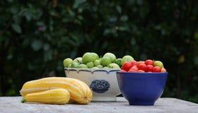 Томаты и тыквы на таблице Стоковое Фото