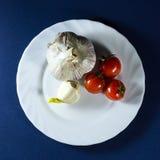 Томаты и чеснок в белой плите на голубой предпосылке Стоковая Фотография