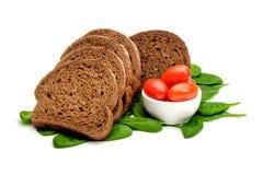 Томаты и шпинат хлеба Стоковые Фото