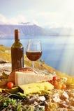 Томаты красного вина, сыра, хлеба и вишни Стоковое Изображение