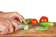 томаты огурцов chop Стоковые Изображения
