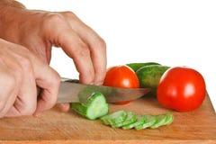 томаты огурцов chop Стоковая Фотография RF