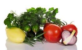 Томаты, огурцы, перец, петрушка и луки Стоковая Фотография RF