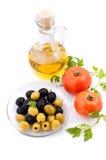 томаты оливки масла зеленых цветов Стоковые Изображения