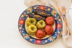 Томаты, перцы и баклажан мяса заполненные Стоковое фото RF