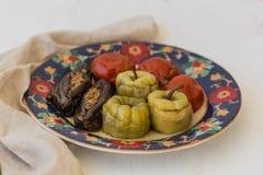 Томаты, перцы и баклажан мяса заполненные стоковая фотография rf