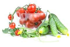 томаты салата огурца вишни шара Стоковое Изображение RF