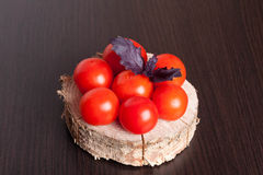 Томаты с базиликом на черной предпосылке таблицы перцы масла опарника зеленого цвета еды состава прованские красные Стоковая Фотография
