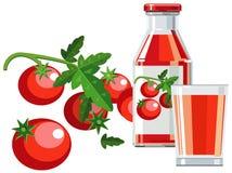 томаты томата сока бутылочного стекла Стоковая Фотография RF