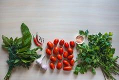 Томаты, чеснок и специи на таблице Подготовка посоленного томата домашняя консервация стоковое изображение rf