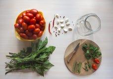 Томаты, чеснок и специи на таблице Подготовка посоленного томата домашняя консервация стоковое фото rf