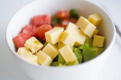 Томат, авокадо и сыр Стоковые Изображения RF