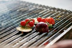 Томат вишни, цукини, баклажан, лук на гриле Стоковые Фото