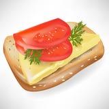 томат ломтика хлеба иллюстрация вектора